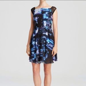MILLY Bella Cityscape Print Dress Fit and Flare
